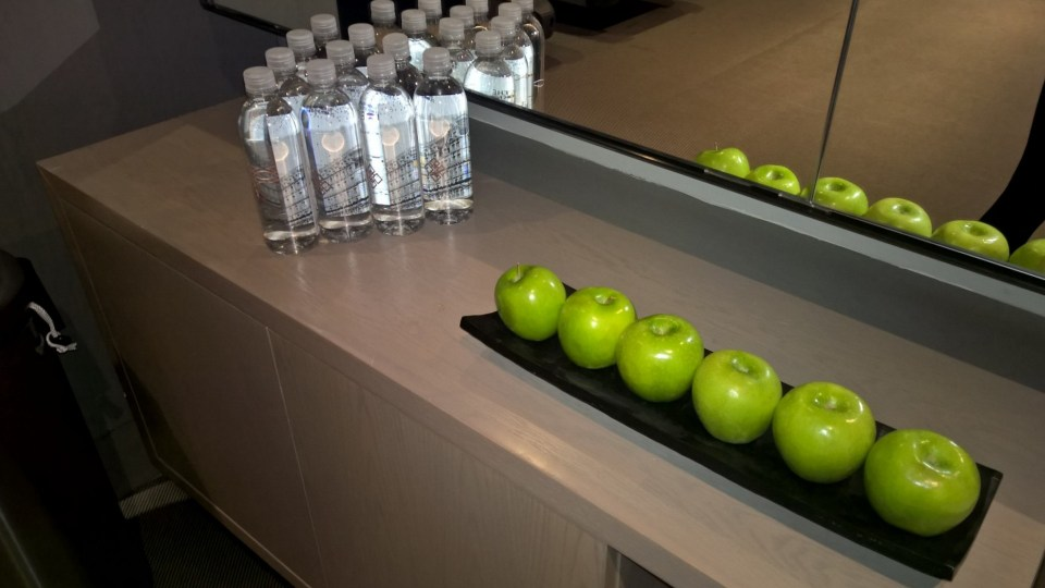 Apples and Knickerbocker branded water in the gym