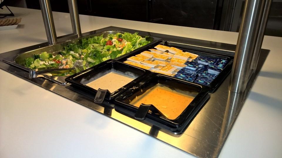 Salad buffet in the Finnair Lounge