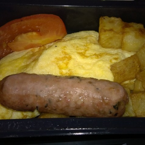 Omelet with potatoes and sausage