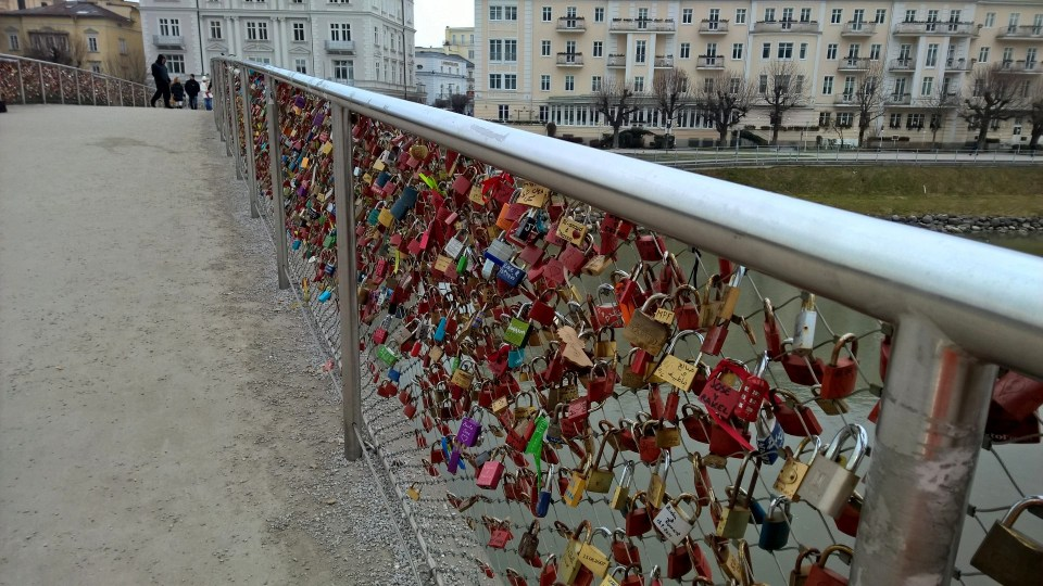 My last impression: Love locks on a bridge in Salzburg