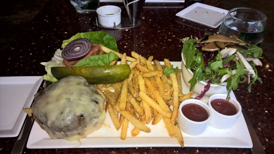 Beef burger with garlic fries at the Aragosta Bar and Bistro