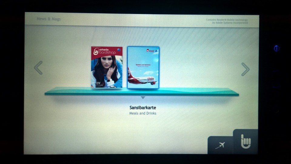 Air Berlin Economy Class Entertainment