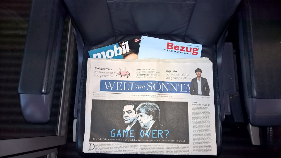 Newspapers are complimentary in first class