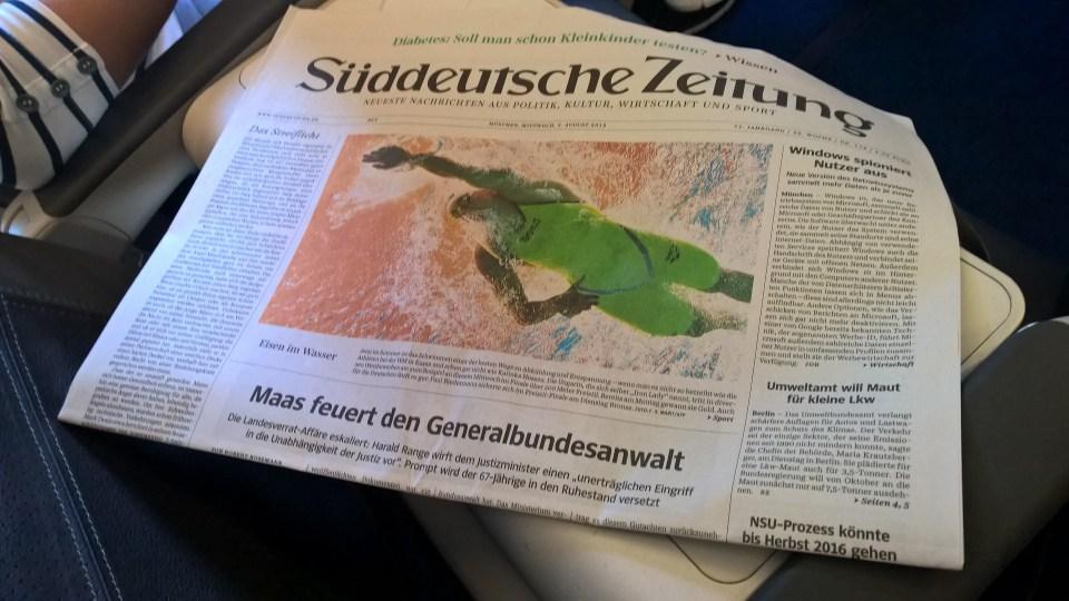 Lufthansa A321 Business Class Newspaper