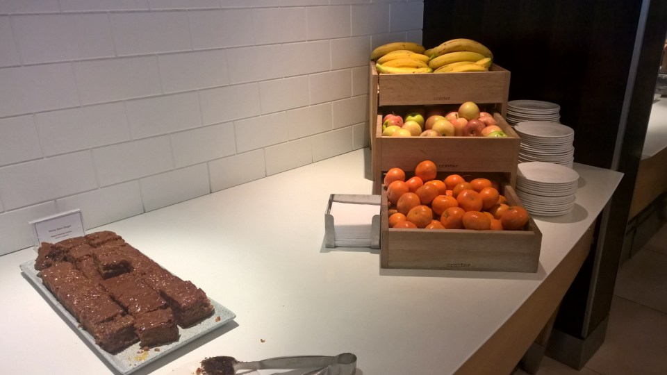 The buffet in the BA Galleries Lounge South is decent