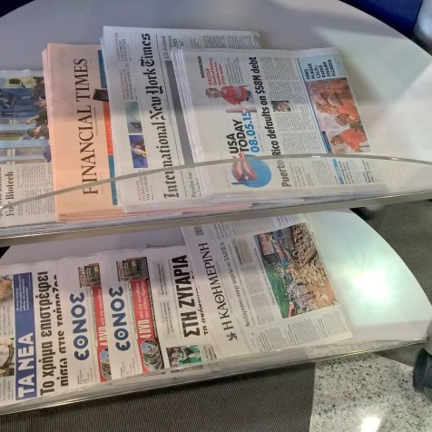 Lufthansa Business Lounge Athens Newspapers