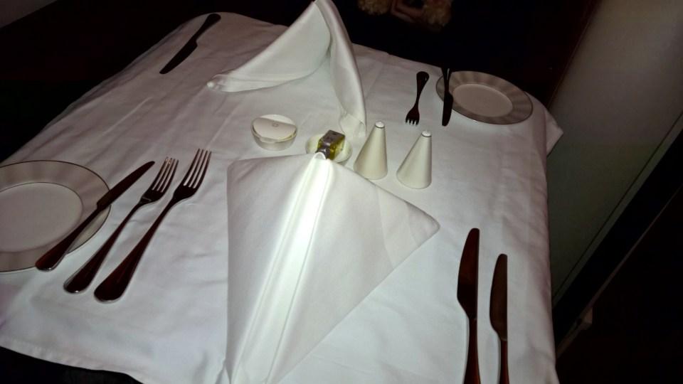 Etihad First Class Dinner
