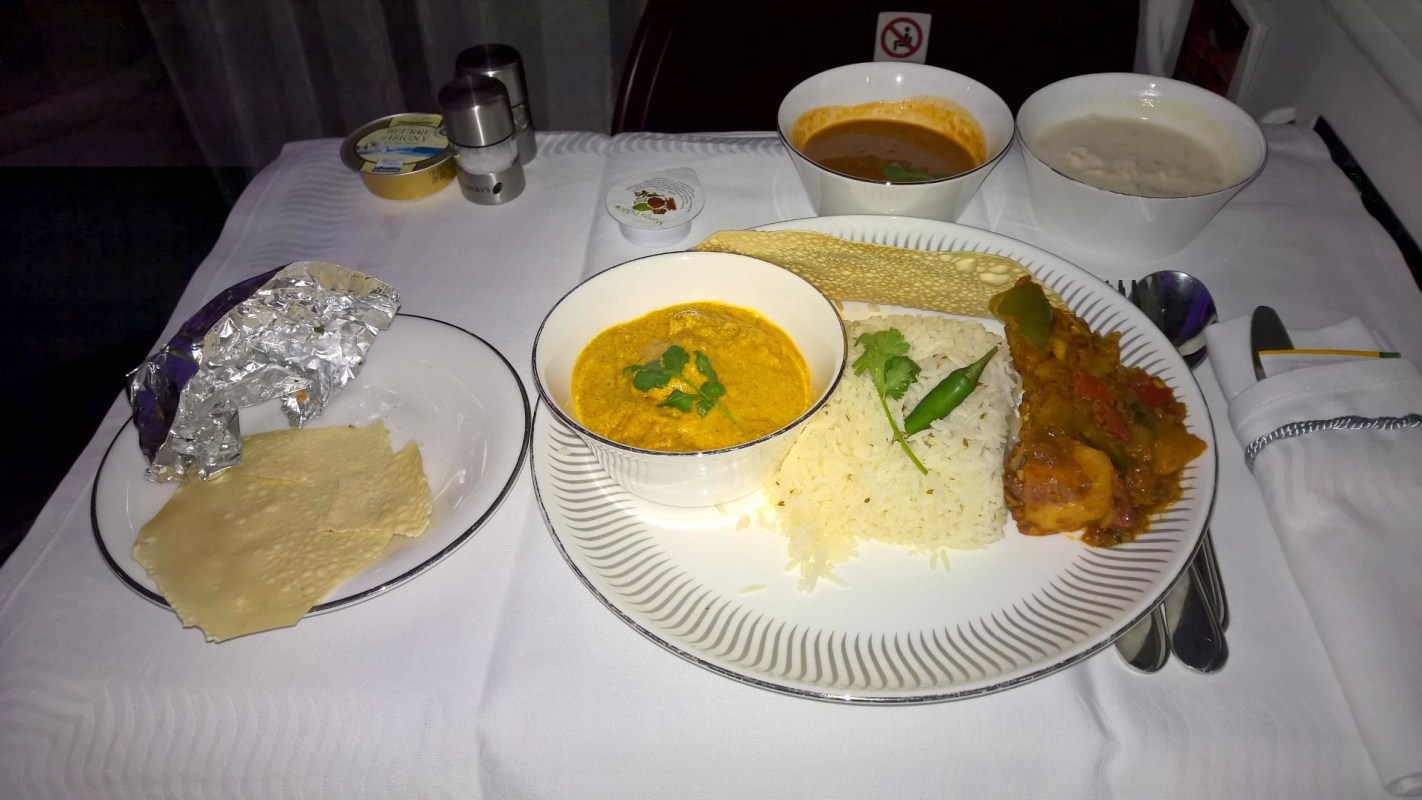 Jet Airways Business Class Dinner