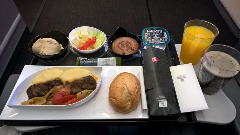Turkish Airlines Economy Class Kitchen Dinner