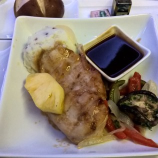 American Airlines Business Class Dinner