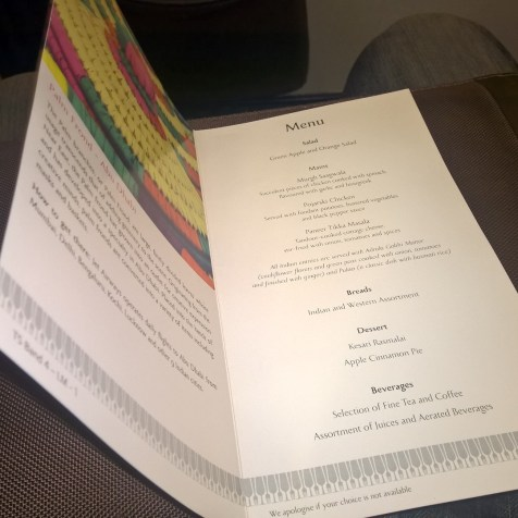 Jet Airways domestic Première Menu