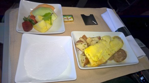 American Airlines regional First Class Breakfast