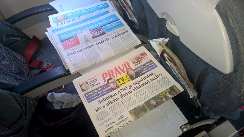Newspapers in the Czech Airlines Business Class