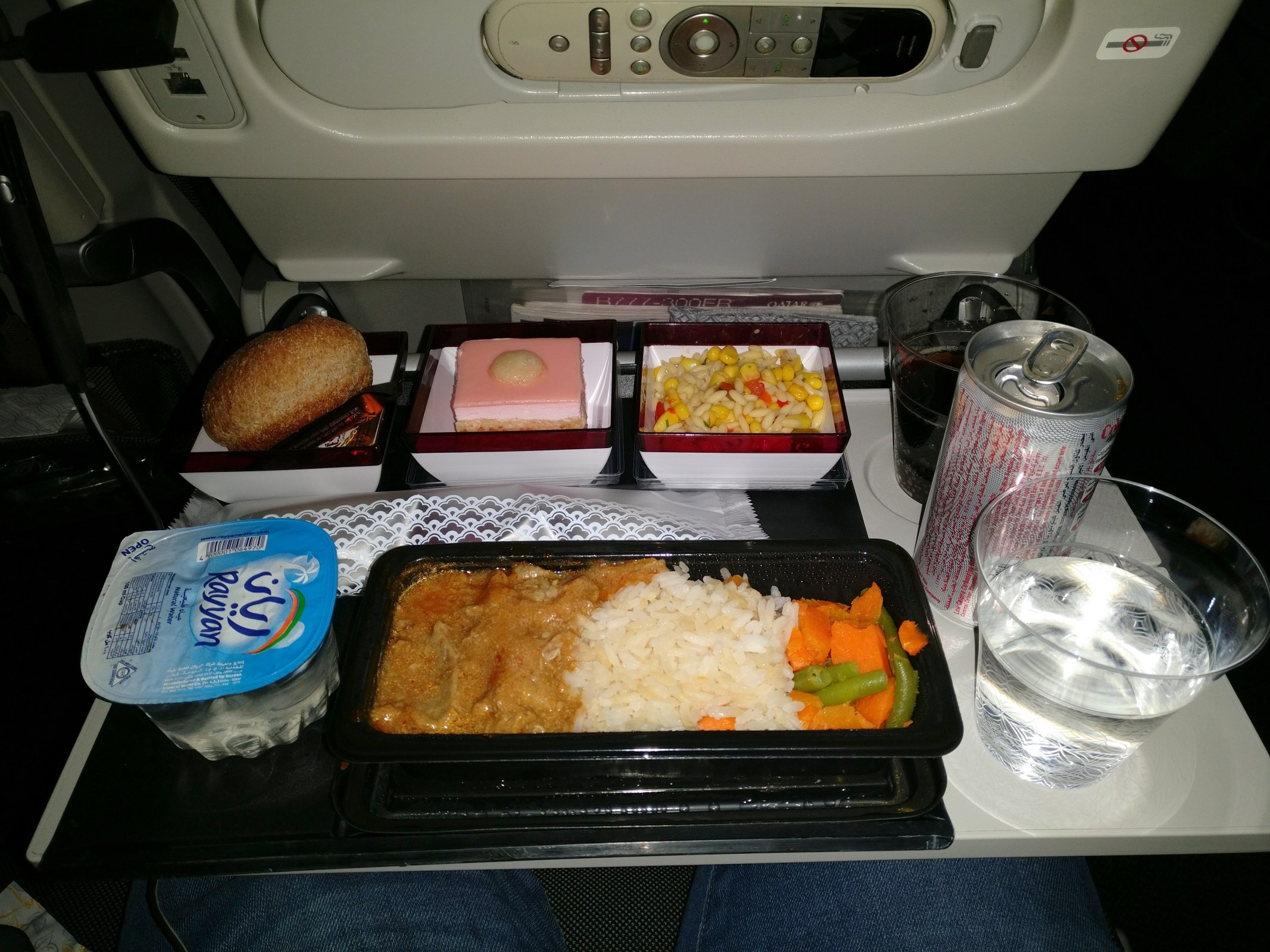 Qatar Airways Economy Class Boeing 777 Dinner