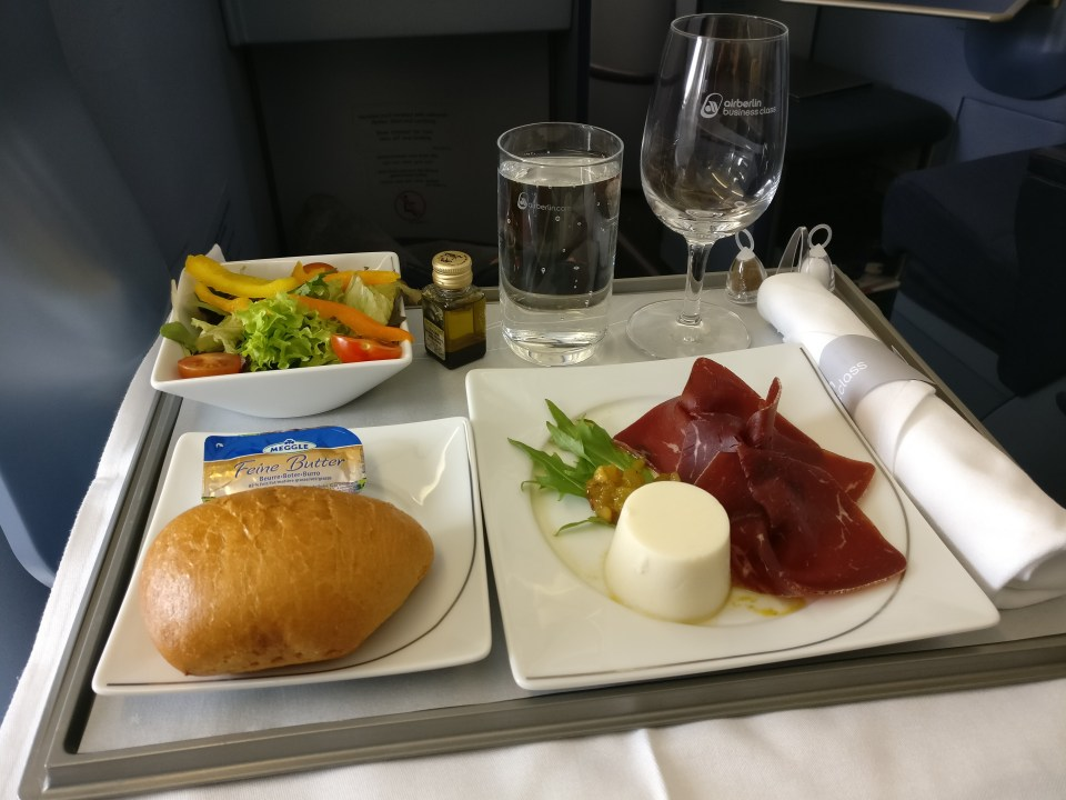 airberlin Business Class Airbus A330-200 Lunch