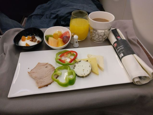 Turkish Airlines Business Class Airbus A330 Breakfast