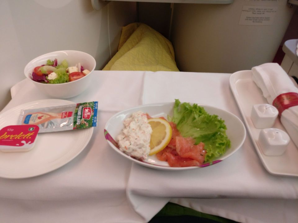 Ethiopian Airlines Business Class Boeing 787 Dinner