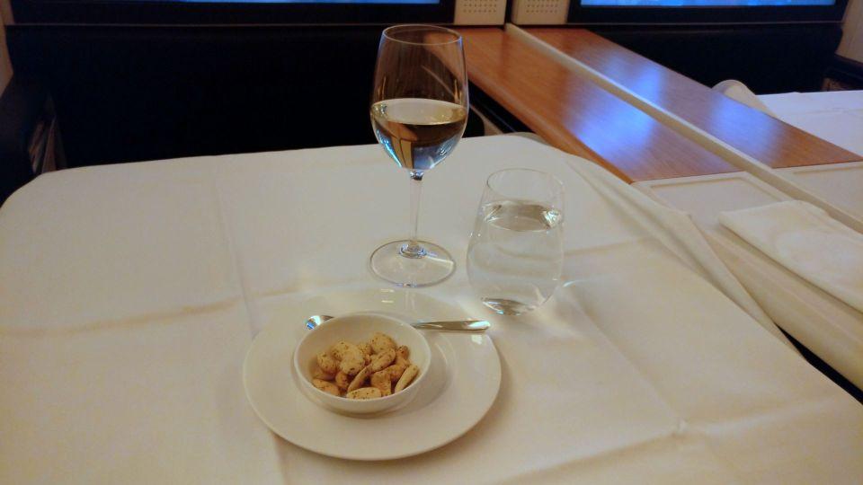 Swiss First Class Boeing 777 Dinner