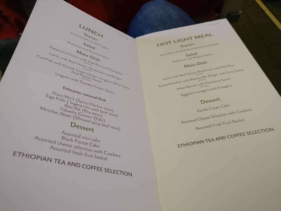 Ethiopian Airlines Business Class Boeing 737 Menu