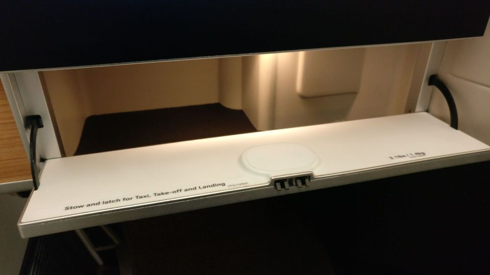Swiss Business Class Boeing 777 Storage