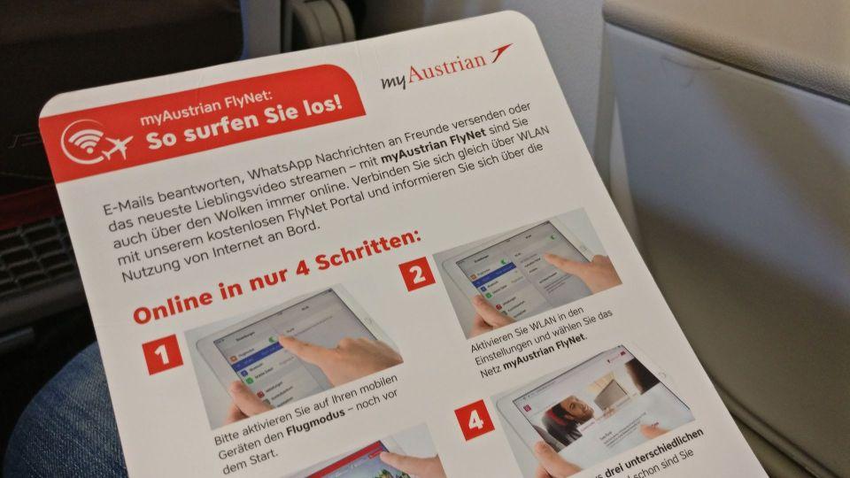 Austrian Airlines regional Economy Class WiFi