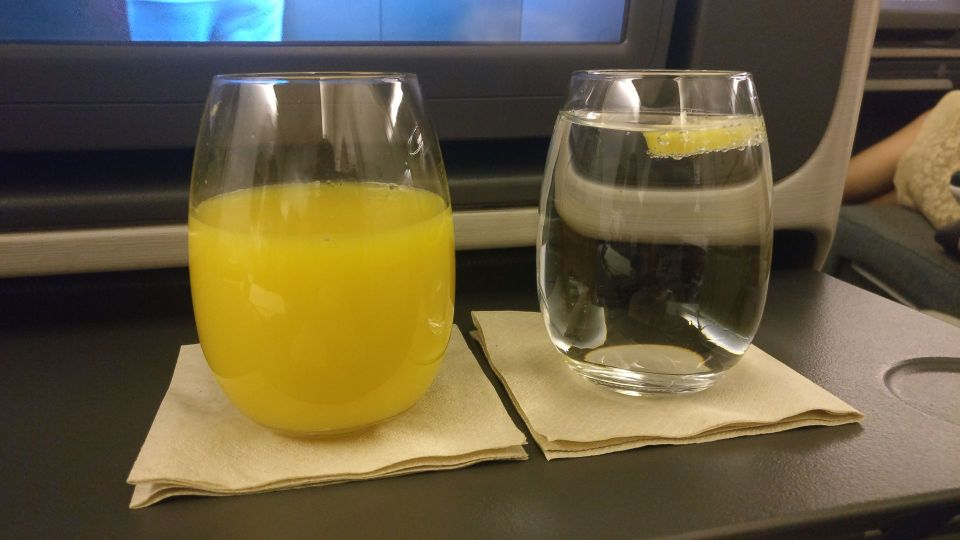 Cathay Pacific Business Class Boeing 777-300 Drink