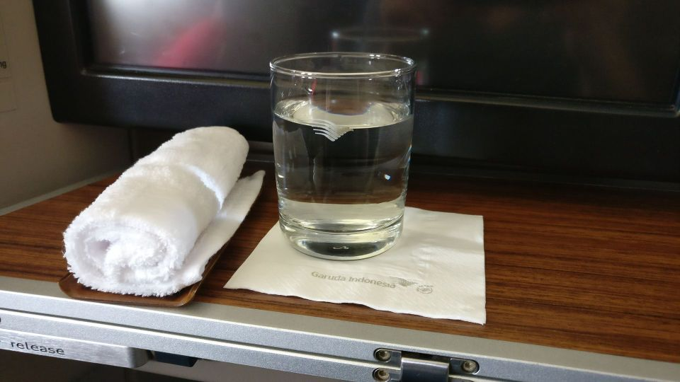 Garuda Indonesia Business Class Airbus A330 Welcome Drink