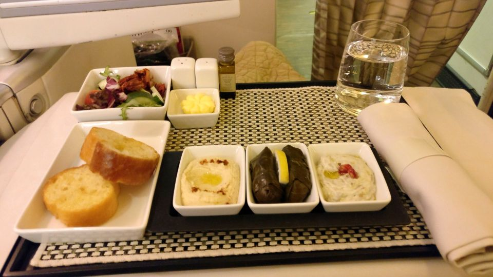 Saudia Business Class Boeing 777 Dinner