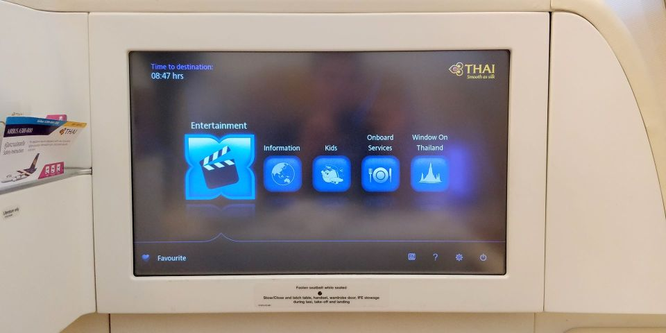Thai Airways First Class Airbus A380 Entertainment