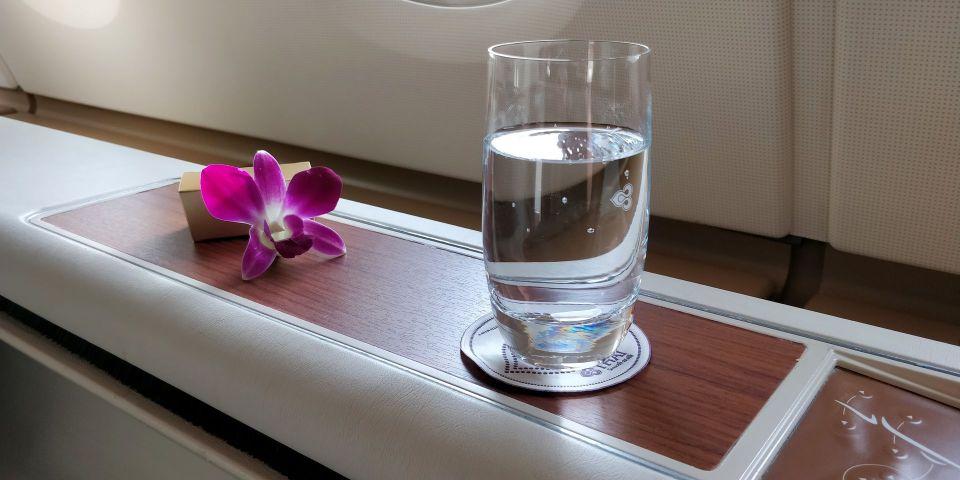 Thai Airways First Class Airbus A380 Willkommensgetränk