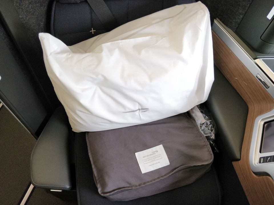 British Airways Business Class Airbus A350 Bedding