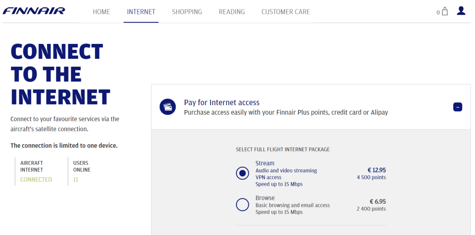 Finnair Internet
