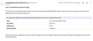 nigeria visa on arrival notification email