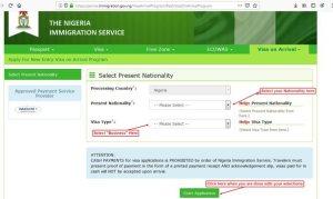 nigeria visa on arrival start page