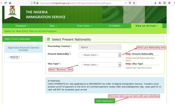 nigeria visa on arrival start page