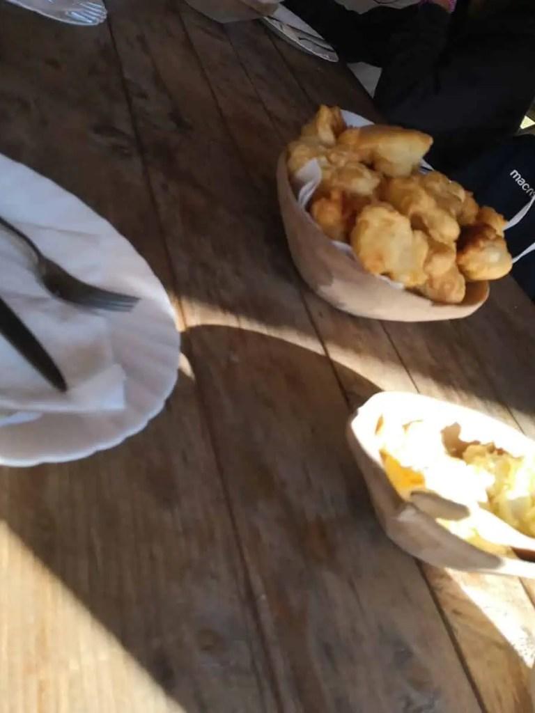 brekkie of dumplings, cheese & honey