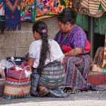 Indigenous craft vendors in Panajachel Guatemala at lunch time
