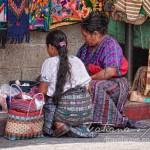 Indigenous craft vendors in Panajachel Guatemala at lunch time
