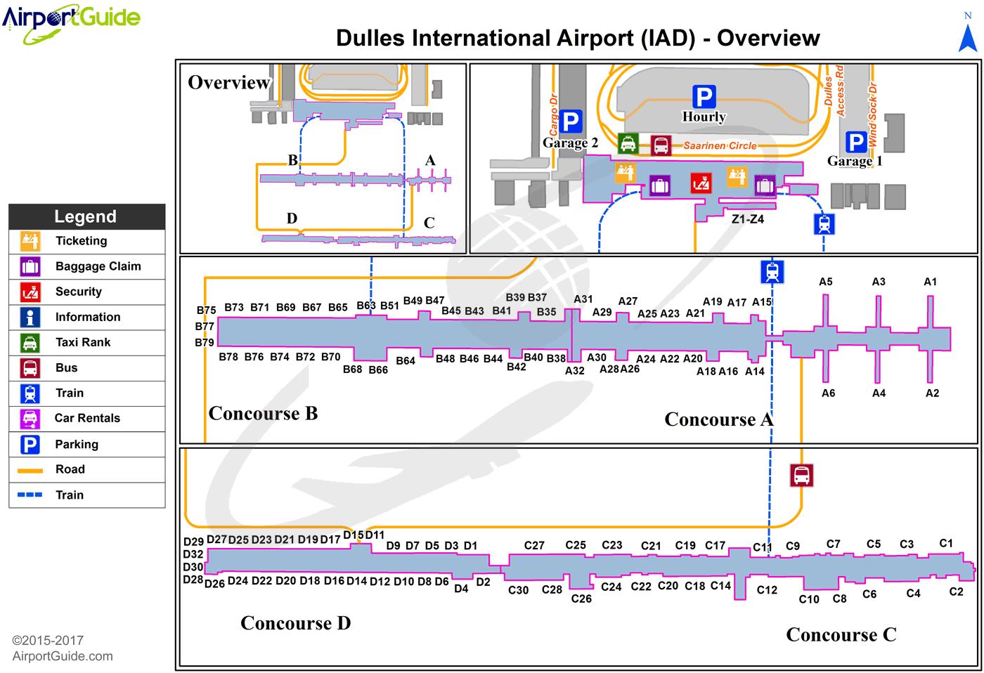 Washington Washington Dulles International Iad Airport Terminal Maps Travelwidget Com