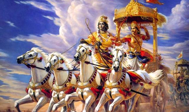 Lord Krishna on his horse chariot. Pictures from Mahabharatha.