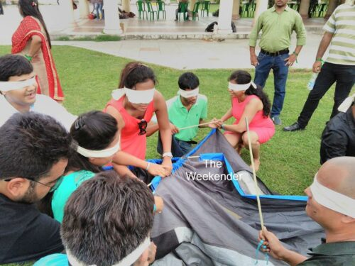 Blind Folded Tent Pitching