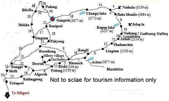 E. Sikkim Silk route Map