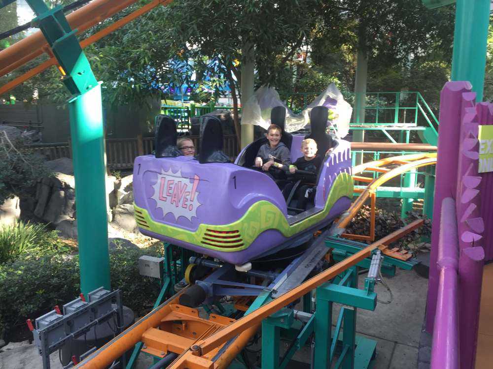 Fairly Odd Coaster | Nickelodeon Universe Theme Park: Everything You Need to Know by popular family travel blog, Travel with a Plan: image of the Fairly Odd Coaster at Nickelodeon Universe theme park.