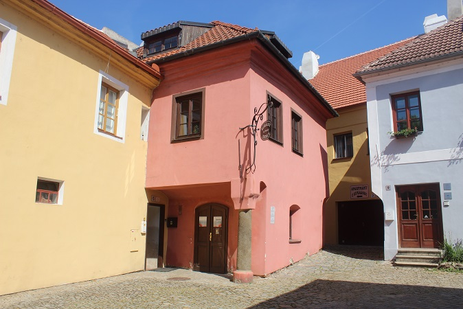 Colorful houses in the Jewish Quarter of Trebic
