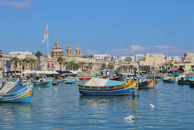 Colorful boats in Marsaxlokk