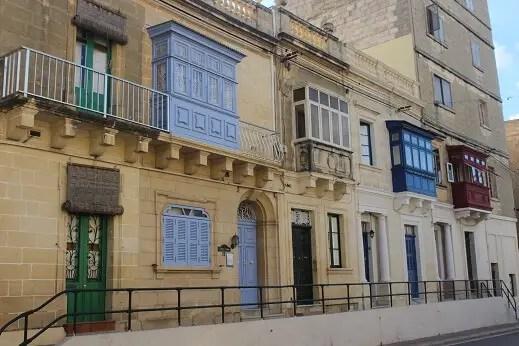 Colorful balconies in Luqa, Malta