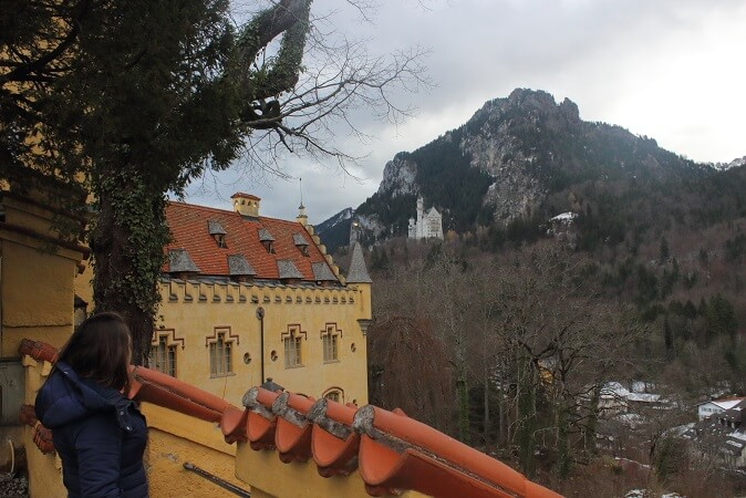 Looking at Neuschwanstein Castle from Hohenschwangau just like Ludwig did almost 200 years ago