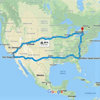 2019 Road Trip Map