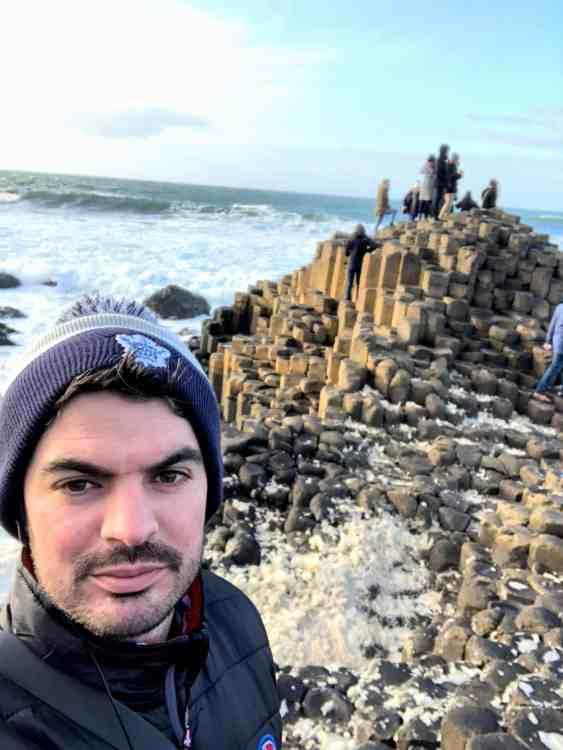 Giants Causeway selfie with ocean in the background