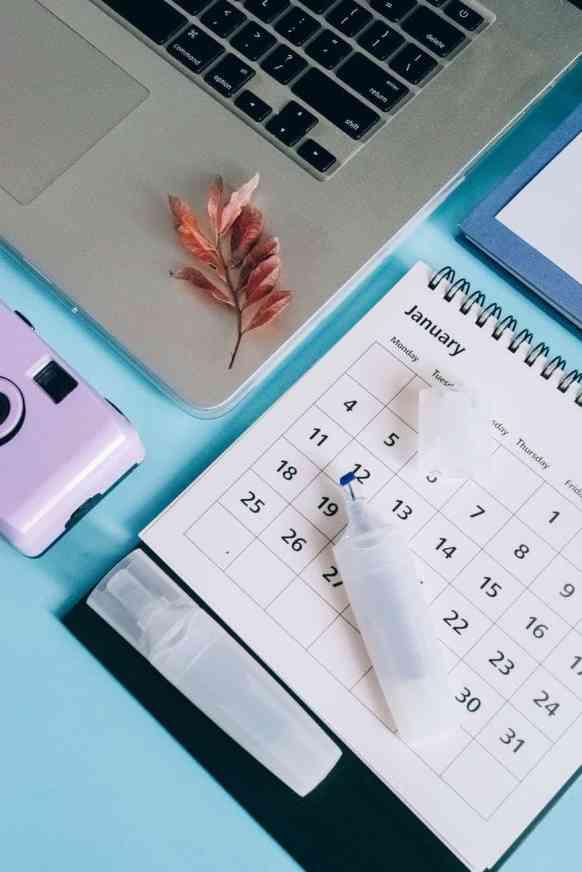 laptop office technology calendar planning 2021